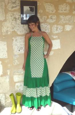 robe longue verte petites fleurs